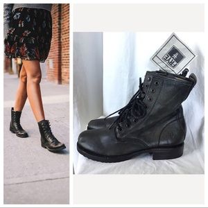 New Frye Veronica Combat Leather Lace Up Boots